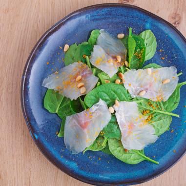 Epinards sashimi Cod